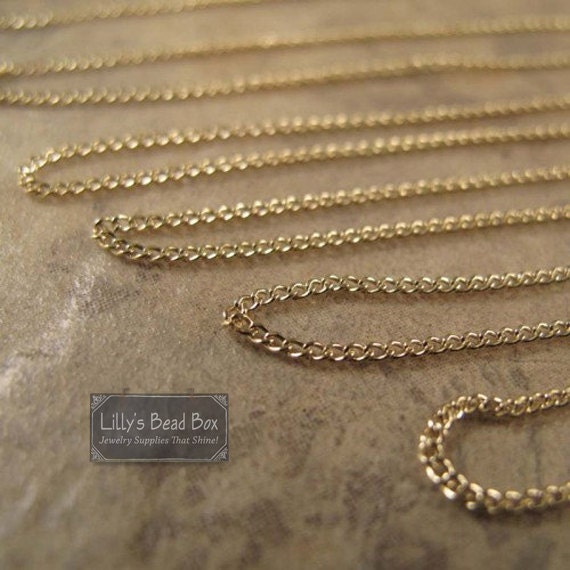 Thin Gold Chain Bracelet: Thin Gold Chain, By The Foot, 14/20 Gold Filled 1.1mm Curb