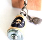 Skull and Crossbones Necklace - Skull Jewelry, Gothic Jewelry, Cork in Test Tube, Recycled, Custom Stamped Initial, Tattoo Art, Uncorked