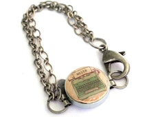 Vintage Typewriter Bracelet, Typewriter Jewelry, Blogger Gift, Writer Jewelry, Initial, Wine Cork, Chain Bracelet, Adjustable, Uncorked