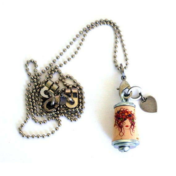 Hair Stylist Necklace - Flowers Cork Necklace in Test Tube and Wood Cube - Uncorked