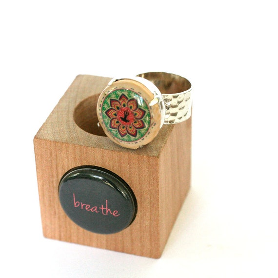 Meditation Ring - Meditation Jewelry, Yoga, Jewelry, Ring, Breathe, Peace, Karma, Recycled, Hammered Silver Ring, Wine Cork Ring - Uncorked
