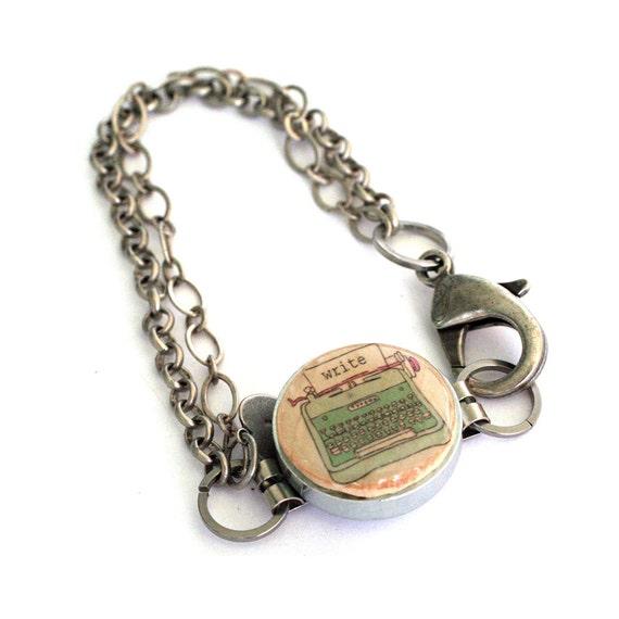 Typewriter Bracelet - Typewriter Jewelry - Wine Cork Jewelry - Steel Bracelet - Recycled Jewelry - Writer Gift - Blogger Gift - Uncorked