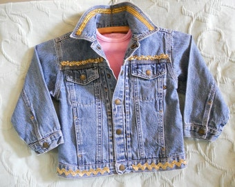 Girls upcycled and embellished denim jacket ON SALE.
