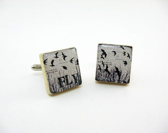 Wood Wedding Cufflinks, custom, father of the bride, black and white, bird cufflinks, groom gift, wedding gift