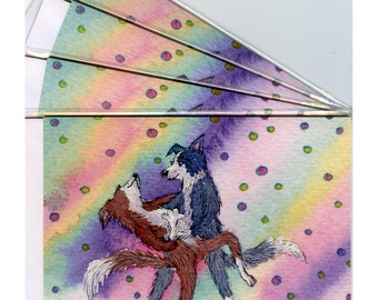 4 x Border Collie dog greeting cards - strictly ballroom dancing