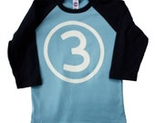 Kids THIRD BIRTHDAY Light Blue + Navy Raglan T-shirt