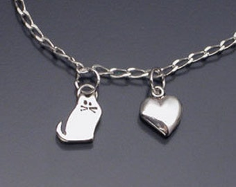 """Cat charm pendant on 18"""" sterling chain"""