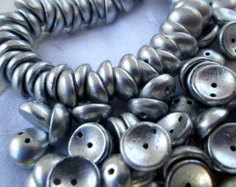 Matte Silver Concave 8mm Two Hole Piggy Beads 50 Pcs