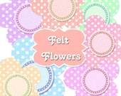 INSTANT Download Felt Polka Dot Flowers Boutique Digital Clipart Buy 1 Get 1 FREE