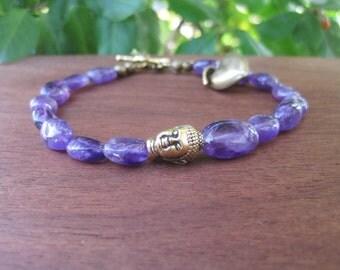 Purple Amethyst Stone Buddha Bracelet - Yoga Bohemian Fashion - Gold Heart Leaf Charms Large Plus Size - Women's Boho Jewelry Inbloomdesigns