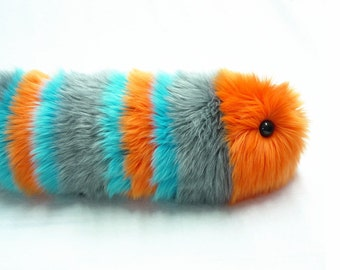 Caterpillar Stuffed Animal Cute Plush Caterpillar Toy Kawaii Plushie Electra the Orange Gray and Aqua Snuggle Worm Toy Medium 6x18 Inches
