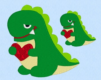 T-Rex Smiling with Heart - machine embroidery design file in two sizes