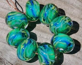 Lovely 'n Lush - Set of 8 Encased Lampwork Beads - Dan O Beads