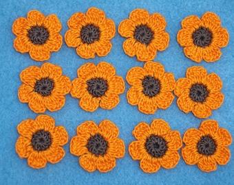 12 brown and orange cotton crochet applique flowers --  1792