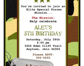 Army Invitations, Camo Invitations,Army birthday party, Camouflage, Dog tag, Children, Boys