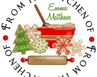 Christmas Cookie stickers, cookie exchange, Baking labels, Cookie swap, Holiday, Christmas, Kitchen,Cookies, Labels, set of 12