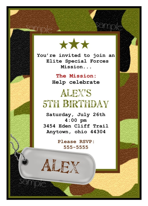army invitations camo invitationsarmy birthday party  etsy, Birthday invitations
