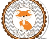 Personalized Labels -- Fox -- Personalized Stickers, Address Labels, Party Favors, Birthday Stickers -- Choice of Size