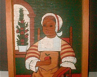 Colonial Children Paint By Number Portrait Young Girl with Apple  Painting on Plywood Vintage 60s