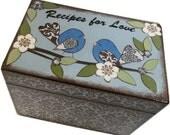 Recipe Box, Decoupaged, Handcrafted Box, Birds & Other Designs, Kitchen Storage Organization, Wedding Box, Bridal Shower MADE TO ORDER