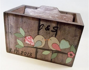 Wedding Guest Book Box, Recipe Box, Wedding Card Box, Couples Gift, Bridal Gift, Bird Box, Storage, Holds 4x6 Index Cards - MADE TO ORDER