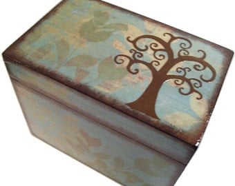 Recipe Box, Personalized, Couples Gift, Bridal Shower, Bridal Gift, Decorative Box, Tree and Other Designs, Holds 5x7 Cards, MADE TO ORDER