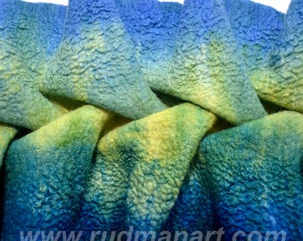 REDUCED Felted scarf Coastal Algae 3D ART wool silk  hand dyed Green Yellow Blue