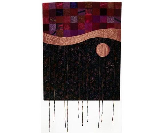 Abstract Art Quilt, Fabric Wall Hanging, Fiber Art, Gypsy Moon