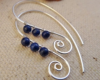 Blue Spiral Earrings Handmade with Lapis Lazuli and Sterling Silver