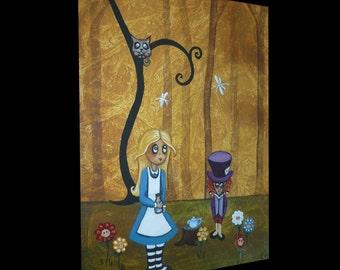 Wonderland Folk Art Painting Whimsical Fairytale Art - 9 x 12 - Alice in Wonderland - Alice and Hatter - Cheshire Cat - Flowers
