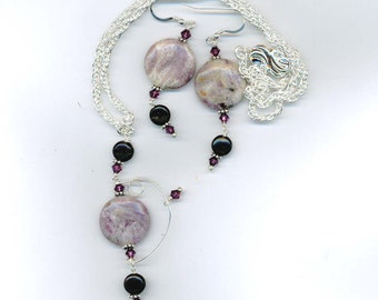 cha-11 round charoite and Swarovski crystals necklace set