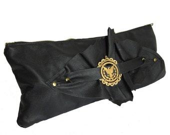Black Repurposed Leather Wrist Clutch