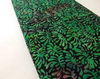 Princess Mirah Batiks Black Pearl 2 Batik Palm Leaves Black Lime Green Quilting Sewing