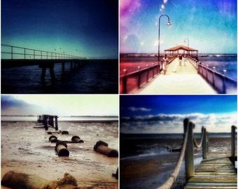 Pier Photography Set of Four 5x5 Jetty Photos, Nautical Decor Beach Photographs, Summer Ocean Art Prints