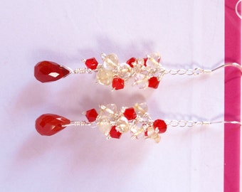 romantic red carnelian yellow citrine and red swarovski crystal sterling silver teardrop long earrings