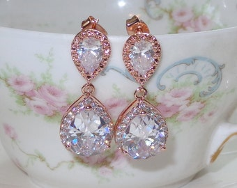 Rose Gold Bridal Bridesmaid Earrings Cubic Zirconia Wedding Jewelry Bridal Jewelry