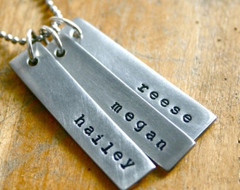 Three name necklace. Hand stamped name jewelry.
