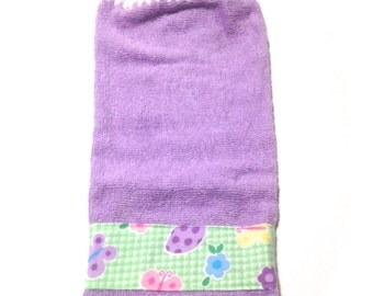 Purple Easter Egg Butterfly Flower Checkered Hand Towel With White Crocheted Top