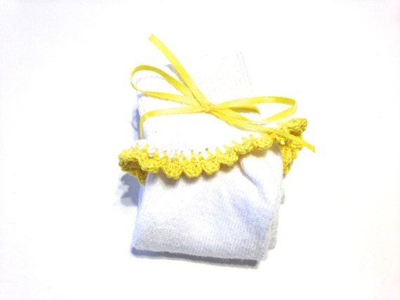Pair Of Girl's Bobby Socks With Bright Yellow Crocheted Shell Stitch For Ages 3-5 Years