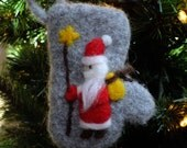 Needle Felted Folk Art Santa on a Felted Mitten Ornament