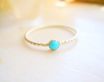 Sterling Silver Dainty Sleeping Beauty Turquoise Ring Twisted Rope Ring Turquoise Stacking Ring - made to order in your finger size