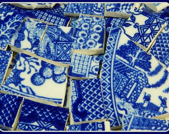 China Mosaic Tiles - BIG BLuE WiLLoW CoLLeCTiON - 150 recycled china plate tiles