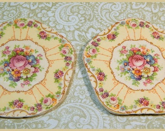 China Mosaic Tiles - A PAIR of SHaBBY GoRGeOUS FOCALS - Broken plates repurposed