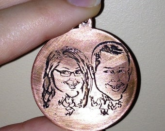 Custom Etched Photo Pendant on Copper Disk with Customizable Labradorite Necklace or Copper Colored Chain