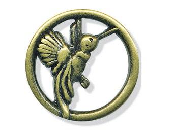 Metal Button - Hummingbird Antique Brass - 1 inch - sewing mixed media collage Fiber Arts Embellish 86599