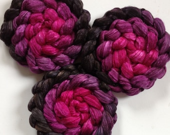 Roving for spinning  luxury silk blends hand dyed gradient PRE Order roving 2ozs Back to Black