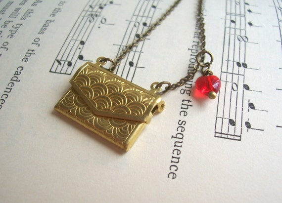 Love Letters necklace - envelope locket charm with red glass heart - handmade