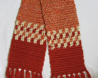 Hand Crocheted Rust and Cream Scarf