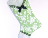 Cottage Green Stocking / Vintage Linen Hanky with Crocheted Trim and Ribbon
