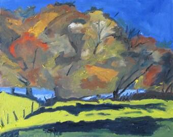 "Art Plein Air Small Landscape Oil Painting Original Impressionist Appalachian Tree Quebec Canada By Fournier "" Fall On A Blue Sky  10"" x 12"""